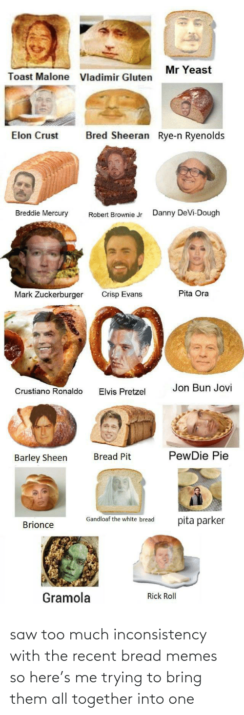 Ronaldo: Mr Yeast  Toast Malone  Vladimir Gluten  Bred Sheeran Rye-n Ryenolds  Elon Crust  Breddie Mercury  Danny DeVi-Dough  Robert Brownie Jr  Pita Ora  Mark Zuckerburger  Crisp Evans  Jon Bun Jovi  Crustiano Ronaldo  Elvis Pretzel  PewDie Pie  Bread Pit  Barley Sheen  Gandloaf the white bread  pita parker  Brionce  Gramola  Rick Roll saw too much inconsistency with the recent bread memes so here's me trying to bring them all together into one