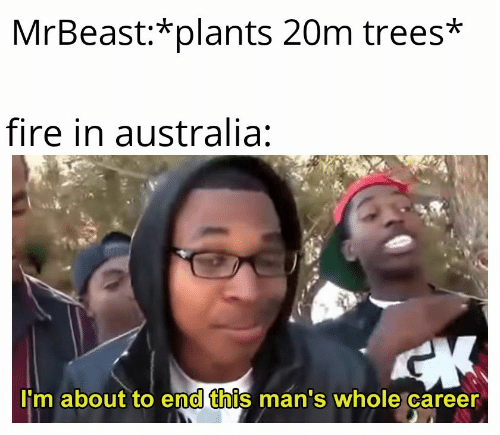 Trees: MrBeast:*plants 20m trees*  fire in australia:  CK  I'm about to end this man's whole career
