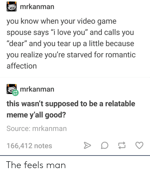 "Love, Meme, and I Love You: mrkanman  you know when your video game  spouse says ""i love you"" and calls you  ""dear"" and you tear up a little because  you realize you're starved for romantic  affection  mrkanman  this wasn't supposed to be a relatable  meme y'all good?  Source: mrkanman  166,412 notes The feels man"
