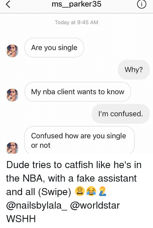 Are You Single: ms__parker35  Today at 9:45 AM  Are you single  Why?  My nba client wants to know  I'm confused.  Confused how are you single  or not Dude tries to catfish like he's in the NBA, with a fake assistant and all (Swipe) 😩😂🤦♂️ @nailsbylala_ @worldstar WSHH