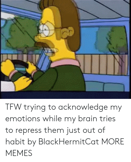 habit: mu TFW trying to acknowledge my emotions while my brain tries to repress them just out of habit by BlackHermitCat MORE MEMES