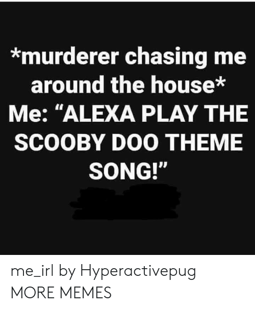"Dank, Memes, and Scooby Doo: *murderer chasing me  around the house*  Me: ""ALEXA PLAY THE  SCOOBY DOO THEME  SONG!"" me_irl by Hyperactivepug MORE MEMES"