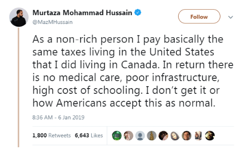 I Dont Get It: Murtaza Mohammad Hussain  @MazMHussain  Followv  As a non-rich person I pay basically the  same taxes living in the United States  that I did living in Canada. In return there  is no medical care, poor infrastructure,  high cost of schooling. I don't get it or  how Americans accept this as normal.  8:36 AM- 6 Jan 2019  1,800 Retweets 6,643 Likes  @о о