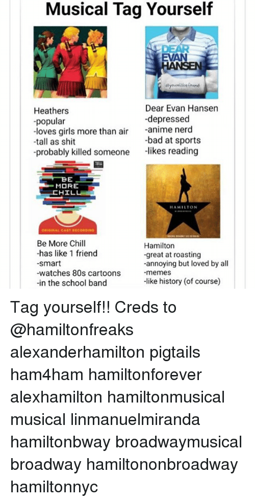 80s, Anime, and Bad: Musical Tag Yourself  EVAN  Heathers  -popular  -loves girls more than air anime nerd  Dear Evan Hansen  depressed  -bad at sports  -tall as shit  -probably killed someone likes reading  MORE  HAMILTON  Be More Chill  -has like 1 friend  smart  -watches 80s cartoons  -in the school band  Hamiltorn  -great at roasting  -annoying but loved by all  -memes  -like history (of course) Tag yourself!! Creds to @hamiltonfreaks alexanderhamilton pigtails ham4ham hamiltonforever alexhamilton hamiltonmusical musical linmanuelmiranda hamiltonbway broadwaymusical broadway hamiltononbroadway hamiltonnyc