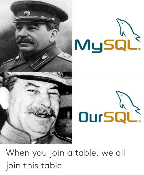 Table, All, and You: MUSQL  OurSQL  TM When you join a table, we all join this table