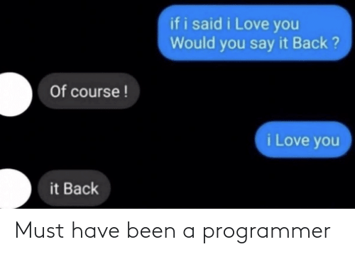 must have: Must have been a programmer