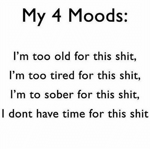 Shit, Time, and Sober: My 4 Moods:  I'm too old for this shit,  I'm too tired for this shit,  I'm to sober for this shit,  I dont have time for this shit