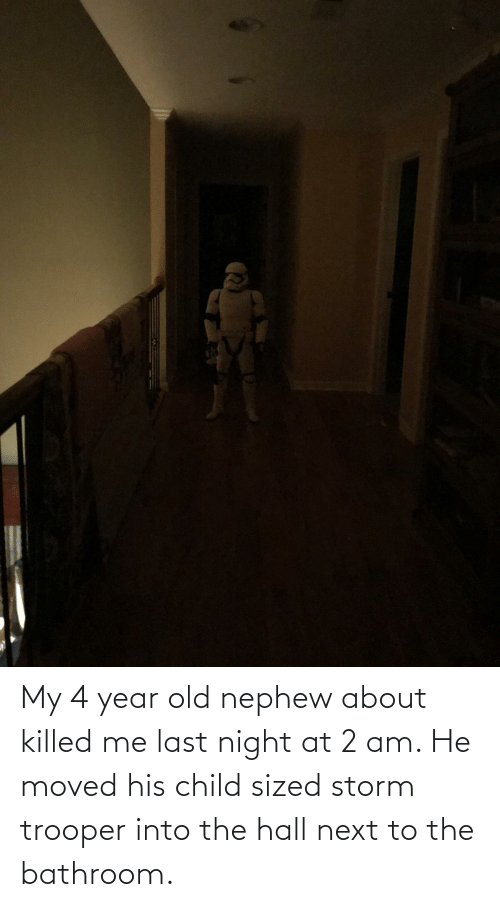 bathroom: My 4 year old nephew about killed me last night at 2 am. He moved his child sized storm trooper into the hall next to the bathroom.