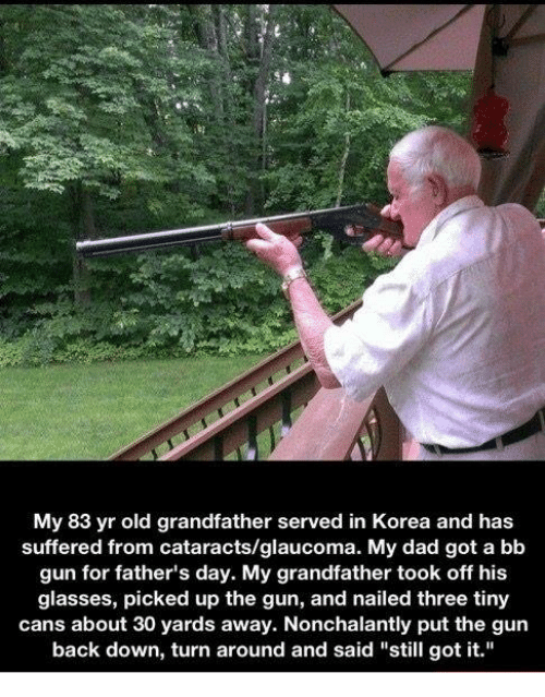 "Fathers Day, Memes, and 🤖: My 83 yr old grandfather served in Korea and has  suffered from cataracts/glaucoma. My dad got a bb  gun for father's day. My grandfather took off his  glasses, picked up the gun, and nailed three tiny  cans about 30 yards away. Nonchalantly put the gun  back down, turn around and said ""still got it."""