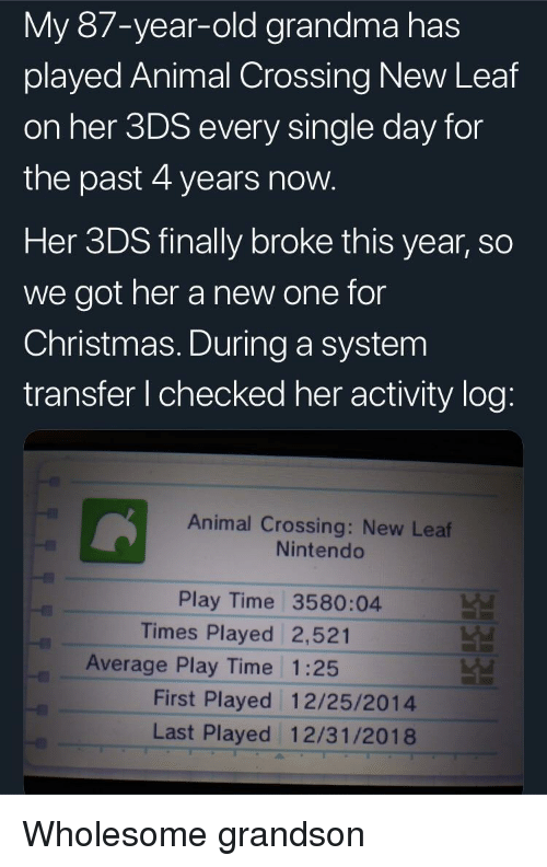 Christmas, Grandma, and Nintendo: My 87-year-old grandma has  played Animal Crossing New Leaf  on her 3DS every single day for  the past 4 years now  Her 3DS finally broke this year, so  we got her a new one for  Christmas. During a system  transfer I checked her activity log  Animal Crossing: New Leaf  Nintendo  Play Time 3580:04  Times Played 2,521  Average Play Time 1:25  First Played 12/25/2014  Last Played 12/31/2018 Wholesome grandson