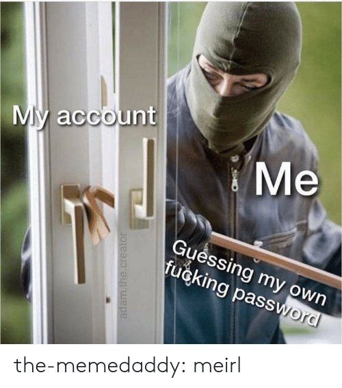creator: My account  Ме  Guéssing my own  fucking password  adam.the.creator the-memedaddy:  meirl