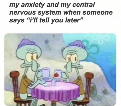 """Anxiety, You, and System: my anxiety and my central  nervous system when someone  says """"i'Il tell you later"""""""