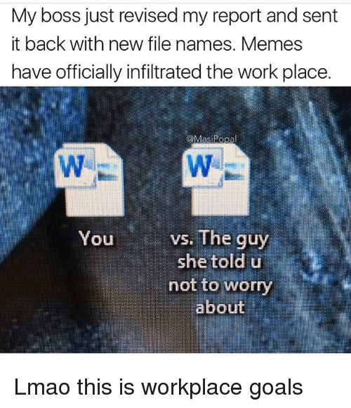 Popa: My boss just revised my report and sent  it back with new file names. Memes  have officially infiltrated the work place.  @Mas Popa  vs. The guy  You  she told u  not to worry  about Lmao this is workplace goals
