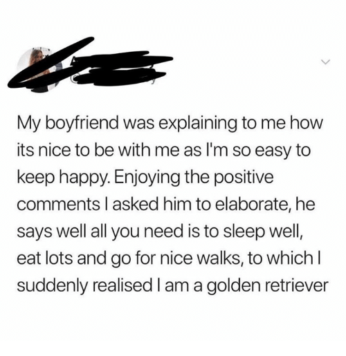 Golden Retriever, Happy, and Boyfriend: My boyfriend was explaining to me how  its nice to be with me as I'm so easy to  keep happy. Enjoying the positive  comments l asked him to elaborate, he  says well all you need is to sleep well  eat lots and go for nice walks, to which l  suddenly realised I am a golden retriever