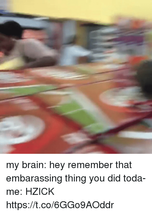 Funny, Brain, and Did: my brain: hey remember that embarassing thing you did toda- me: HZICK https://t.co/6GGo9AOddr