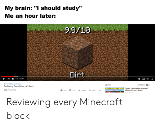 "Minecraft, Brain, and Next: My brain: ""I should study""  Me an hour later:  Lu  4)  1:52 / 22:49  #minecraft #review #blocks  Reviewing Every Minecraft Block  606,705 views  Up next  AUTOPLAY  1.42K ור1.2K SHARE + SAVE  Tested: Can You Beat Minecraft  Without Mining/Hitting? Reviewing every Minecraft block"