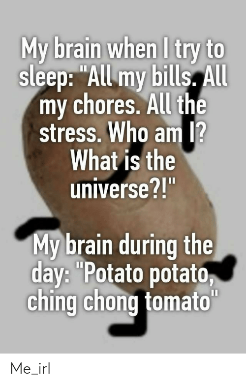 "I Try: My brain when I try to  sleep: ""All my bills. All  my chores. All the  stress. Who am I?  What is the  universe?!""  My brain during the  day: ""Potato potato,  ching chong tomato""  II Me_irl"