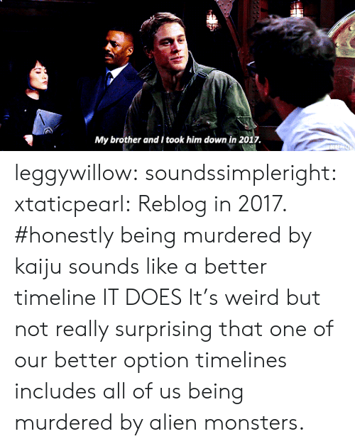 kaiju: My brother and I took him down in 2017 leggywillow: soundssimpleright:  xtaticpearl: Reblog in 2017.    #honestly being murdered by kaiju sounds like a better timeline   IT DOES  It's weird but not really surprising that one of our better option timelines includes all of us being murdered by alien monsters.