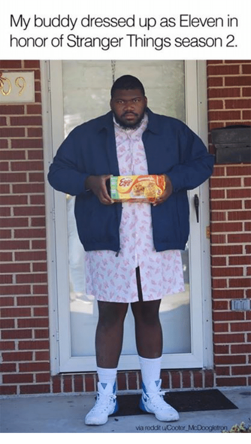Dank, Reddit, and 🤖: My buddy dressed up as Eleven in  honor of Stranger Things season 2  via reddit uCooter McDoogletron