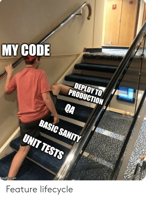 Com, Code, and Basic: MY CODE  DΡΙΟΥ ΤΟ  PRODUCTION  QA  BASIC SANITY  UNIT TESTS  imgflip.com Feature lifecycle