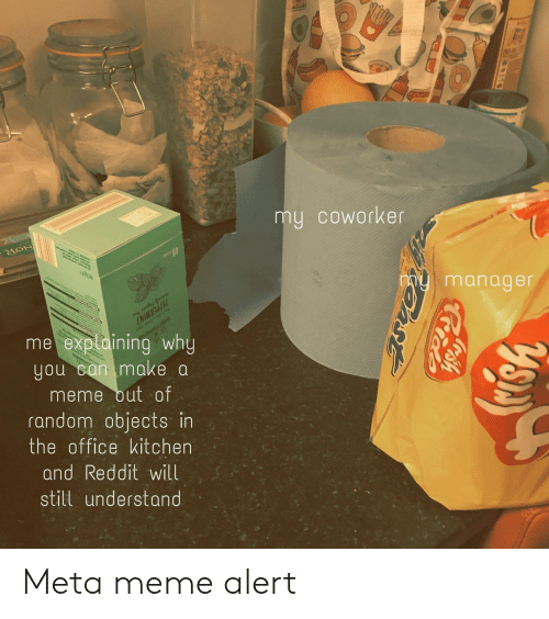 Make A Meme: my coworker  manager  0  me exptaining why  you can make a  meme out of  random objects in  the office kitchen  and Reddit will  still understand Meta meme alert