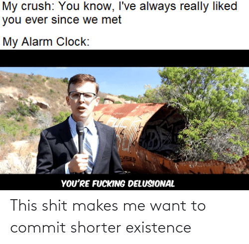 Commit: My crush: You know, I've always really liked  you ever since we met  My Alarm Clock:  FEP  YOU'RE FUCKING DELUSIONAL This shit makes me want to commit shorter existence