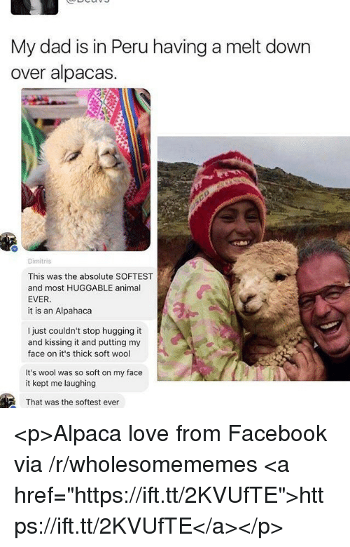 """Dad, Facebook, and Love: My dad is in Peru having a melt down  over alpacas.  Dimitris  This was the absolute SOFTEST  and most HUGGABLE animal  EVER  it is an Alpahaca  I just couldn't stop hugging it  and kissing it and putting my  face on it's thick soft wool  It's wool was so soft on my face  it kept me laughing  That was the softest ever <p>Alpaca love from Facebook via /r/wholesomememes <a href=""""https://ift.tt/2KVUfTE"""">https://ift.tt/2KVUfTE</a></p>"""