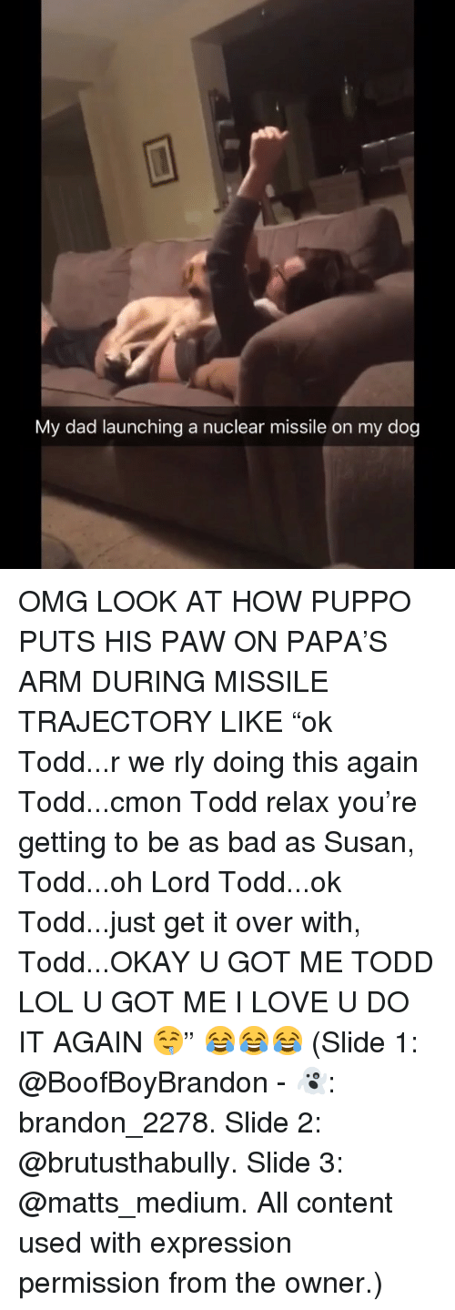 """Bad, Dad, and Do It Again: My dad launching a nuclear missile on my dog OMG LOOK AT HOW PUPPO PUTS HIS PAW ON PAPA'S ARM DURING MISSILE TRAJECTORY LIKE """"ok Todd...r we rly doing this again Todd...cmon Todd relax you're getting to be as bad as Susan, Todd...oh Lord Todd...ok Todd...just get it over with, Todd...OKAY U GOT ME TODD LOL U GOT ME I LOVE U DO IT AGAIN 🤤"""" 😂😂😂 (Slide 1: @BoofBoyBrandon - 👻: brandon_2278. Slide 2: @brutusthabully. Slide 3: @matts_medium. All content used with expression permission from the owner.)"""