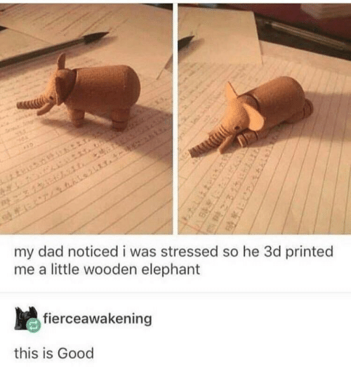 Dad, Elephant, and Good: my dad noticedi was stressed so he 3d printed  me a little wooden elephant  fierceawakening  this is Good