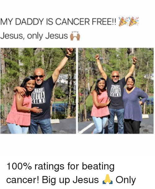 Big Up: MY DADDY IS CANCER FREE!  Jesus, only Jesus  A 100% ratings for beating cancer! Big up Jesus 🙏 Only