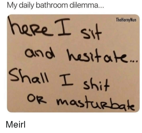 Shit, MeIRL, and Dilemma: My daily bathroom dilemma  TheHornyNun  heeeI s  and hesitak  Shall t shit Meirl