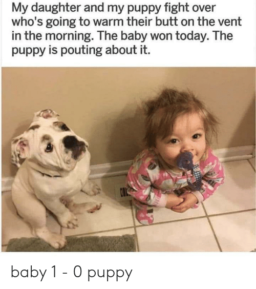 Butt, Puppy, and Today: My daughter and my puppy fight over  who's going to warm their butt on the vent  in the morning. The baby won today. The  puppy is pouting about it.  O baby 1 - 0 puppy