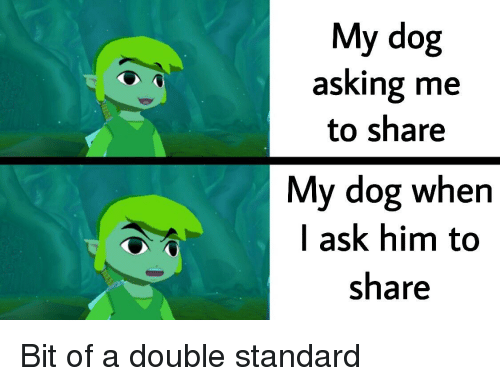 Asking, Ask, and Dog: My dog  asking me  to share  My dog when  I ask him to  share