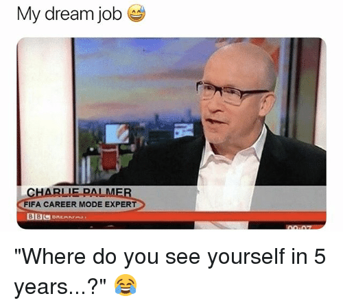 """Charlie, Fifa, and Soccer: My dream job  CHARLIE PALME  FIFA CAREER MODE EXPERT """"Where do you see yourself in 5 years...?"""" 😂"""