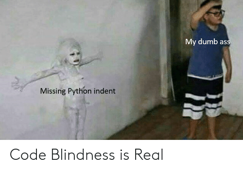 Ass, Dumb, and Python: My dumb ass  Missing Python indent Code Blindness is Real