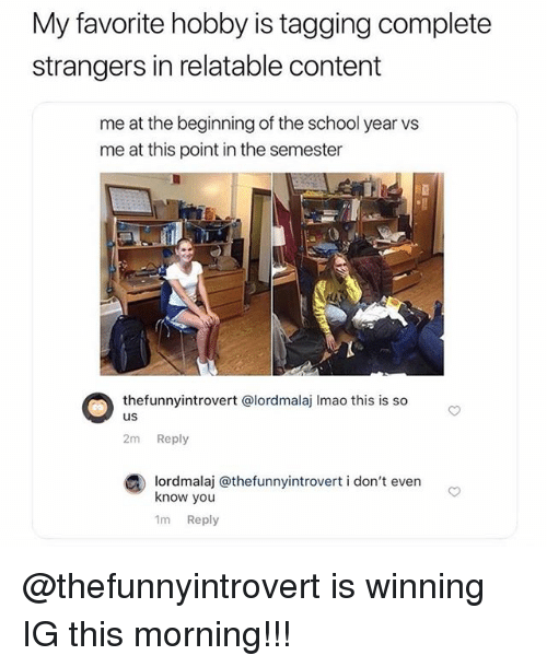 Memes, School, and Relatable: My favorite hobby is tagging complete  strangers in relatable content  me at the beginning of the school year vs  me at this point in the semester  thefunnyintrovert @lordmalaj Imao this is so  us  2m Reply  lordmalaj @thefunnyintrovert i don't evern  know you  1m Reply @thefunnyintrovert is winning IG this morning!!!