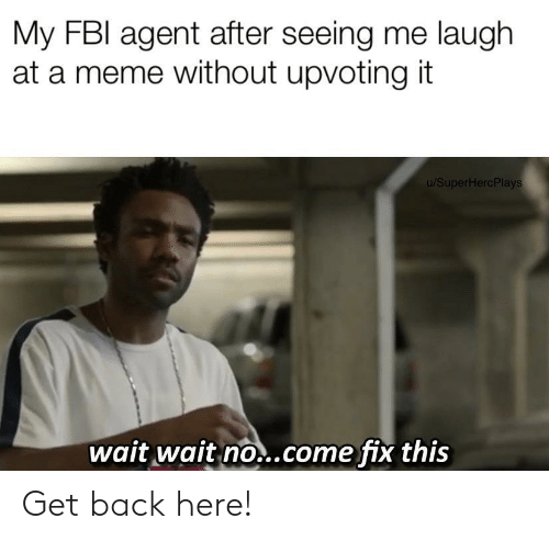 Fbi, Meme, and Back: My FBI agent after seeing me laugh  at a meme without upvoting it  u/SuperHercPlays  wait wait no..come fix this Get back here!