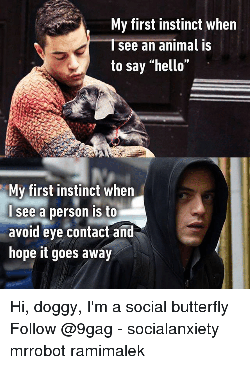 "9gag, Hello, and Memes: My first instinct when  Isee an animal is  to say ""hello""  My first instinct when  see a person is to  avoid eye contact and  hope it goes away Hi, doggy, I'm a social butterfly Follow @9gag - socialanxiety mrrobot ramimalek"
