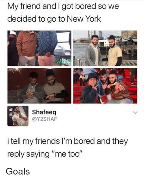 "Bored, Friends, and Goals: My friend and I got bored so we  decided to go to New York  Shafeeq  @Y2SHAF  i tell my friends I'm bored and they  reply saying ""me too"" Goals"