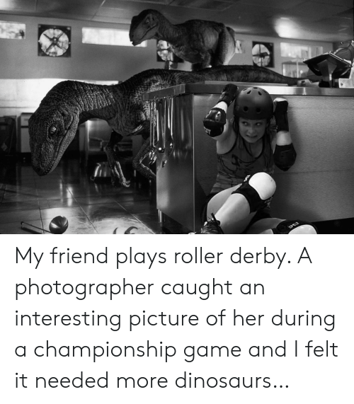 Dinosaurs, Game, and Her: My friend plays roller derby. A photographer caught an interesting picture of her during a championship game and I felt it needed more dinosaurs…