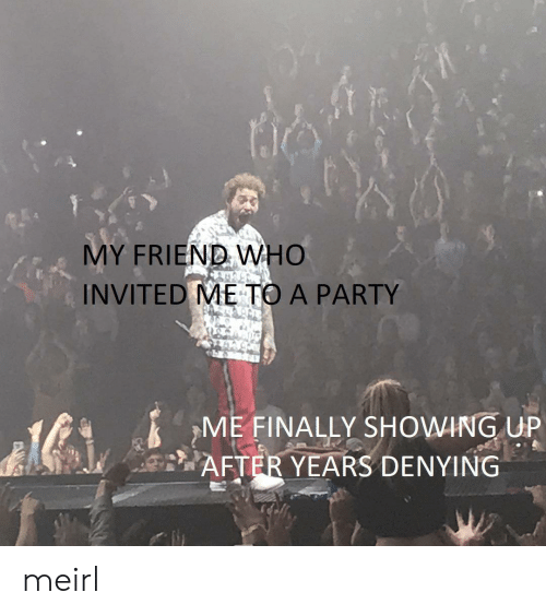 Party, MeIRL, and Who: MY FRIEND WHO  INVITED ME TO A PARTY  ME FINALLY SHOWING UP  AFTER YEARS DENYING  A meirl