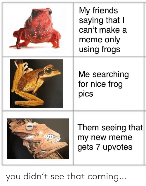 Make A Meme: My friends  saying that I  can't make a  meme only  using frogs  Me searching  for nice frog  pics  Them seeing that  my new meme  gets 7 upvotes you didn't see that coming…