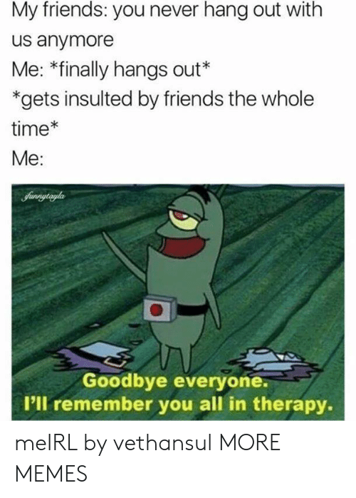Dank, Friends, and Memes: My friends: you never hang out with  us anymore  Me: *finally hangs out*  *gets insulted by friends the whole  time*  Me:  Sunnytryla  Goodbye everyone.  I'll remember you all in therapy. meIRL by vethansul MORE MEMES