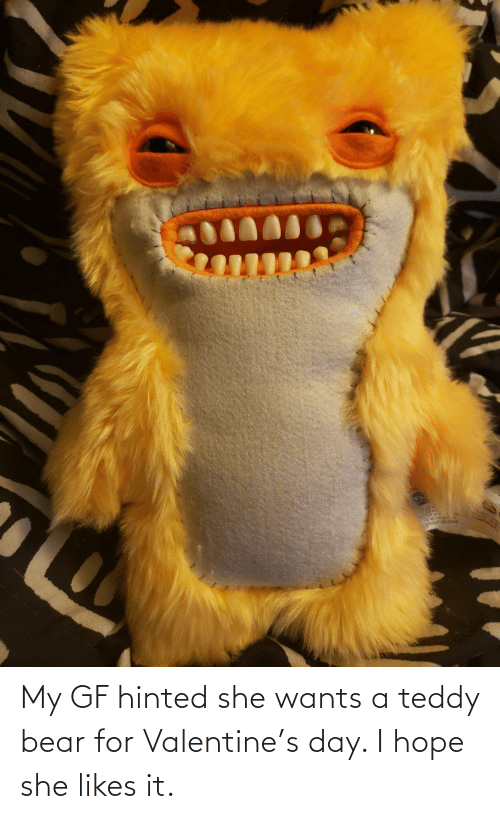 Gf: My GF hinted she wants a teddy bear for Valentine's day. I hope she likes it.