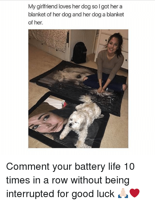 Life, Memes, and Good: My girlfriend loves her dog so I got her a  blanket of her dog and her dog a blanket  of her. Comment your battery life 10 times in a row without being interrupted for good luck 🙏🏻❤️