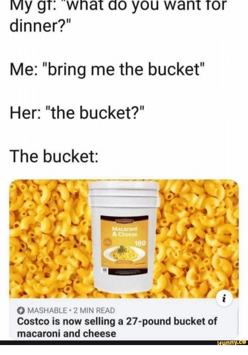 "Costco: My gr: what do you want for  dinner?""  Me: ""bring me the bucket""  Her: ""the bucket?""  The bucket:  Macaroni  &Cheese  180  i  MASHABLE 2 MIN READ  Costco is now selling a 27-pound bucket of  macaroni and cheese  ifynny.co"