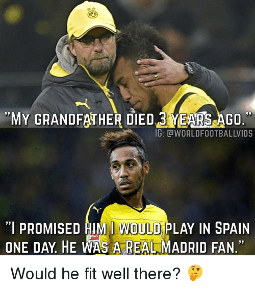 """Memes, Real Madrid, and Spain: MY GRANDFATHER DIED YEARS AGO.  IG: CWORLDFOOTBALLWIDS  """"I PROMISED HIM I WOULD  PLAY IN SPAIN  ONE DAY HE WAS A REAL MADRID FAN. Would he fit well there? 🤔"""