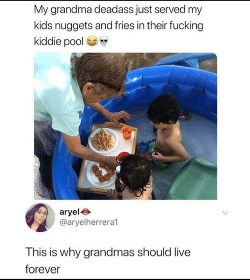 Dank, Fucking, and Grandma: My grandma deadass just served my  kids nuggets and fries in their fucking  kiddie pool  aryele  @aryelherrera1  This is why grandmas should live  forever