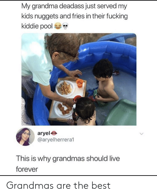 Fucking, Grandma, and Best: My grandma deadass just served my  kids nuggets and fries in their fucking  kiddie pool  aryel  @aryelherrera1  This is why grandmas should live  forever Grandmas are the best