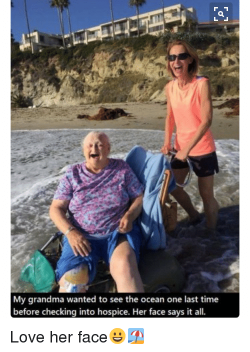 Memes, 🤖, and Hospice: My grandma wanted to see the ocean one last time  before checking into hospice. Her face says it all. Love her face😀🏖